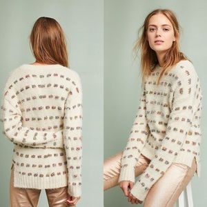 Anthropologie | Moth Metallic Check Sweater